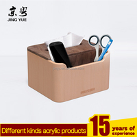 Multifunctional Paper Napkin Holder Wood Tissue Box with Remote Controller and Pen or Pencil Holder