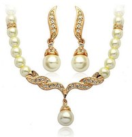 Wedding Pearl Jewelry Set Bridal Necklace and Earrings wedding imitation Pearl Jewelry Set