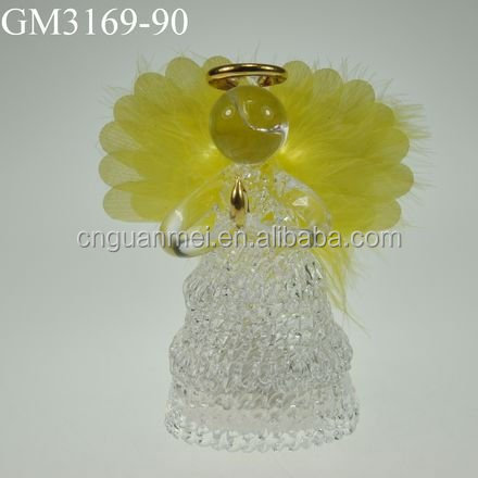 decorative glass angel with yellow optical wings
