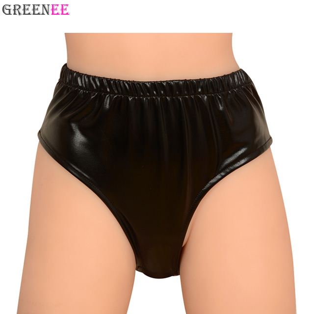 Black PU Leather Lingerie With Dildo Panties Crothless Briefs Underwear