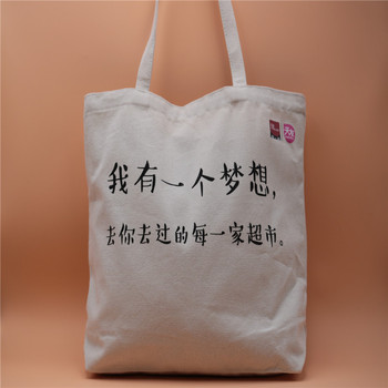 Wholesale 100% cotton plain weave fabric custom blank canvas tote bags