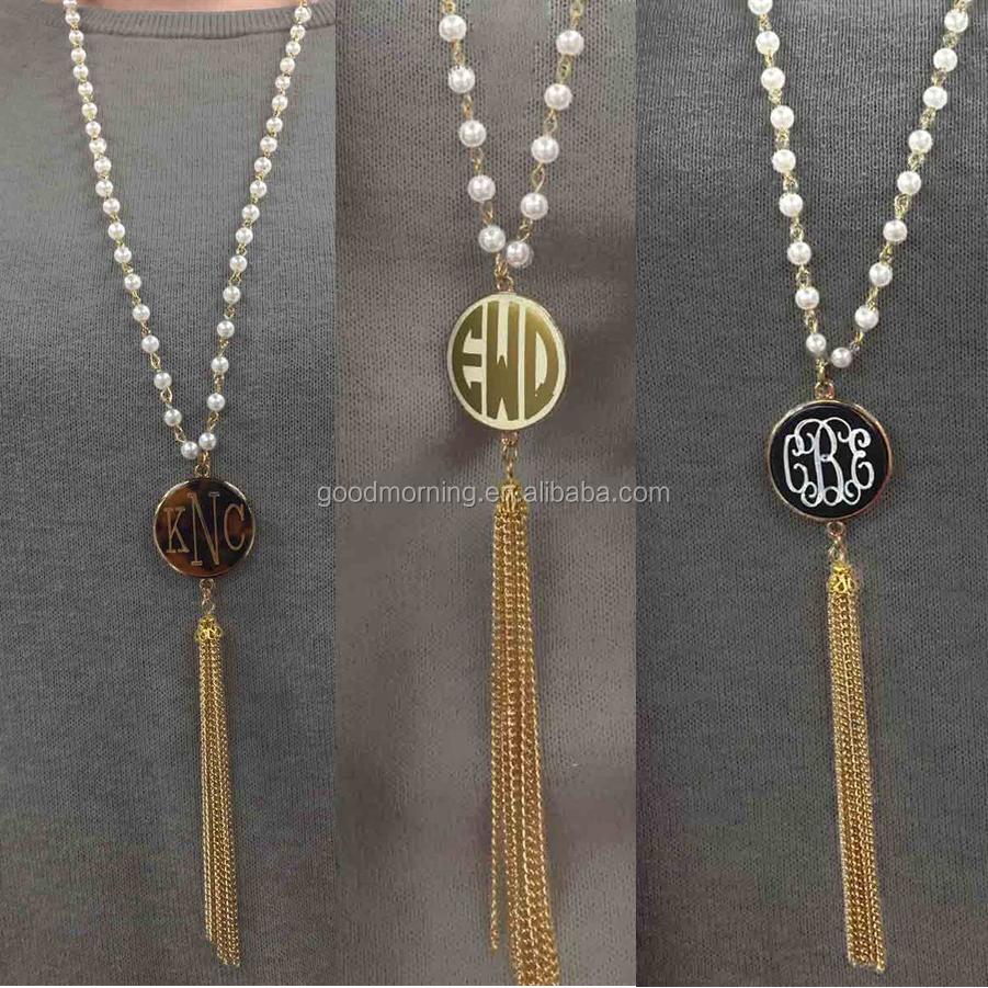 Trendy Monogrammed Pearl Rosary Tassel Necklace  Buy Trendy Monogrammed  Pearl Rosary Tassel Necklace,trendy Monogrammed Pearl Tassel Necklace,personalized