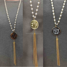 Trendy Monogrammed Pearl Rosary Tassel Necklace
