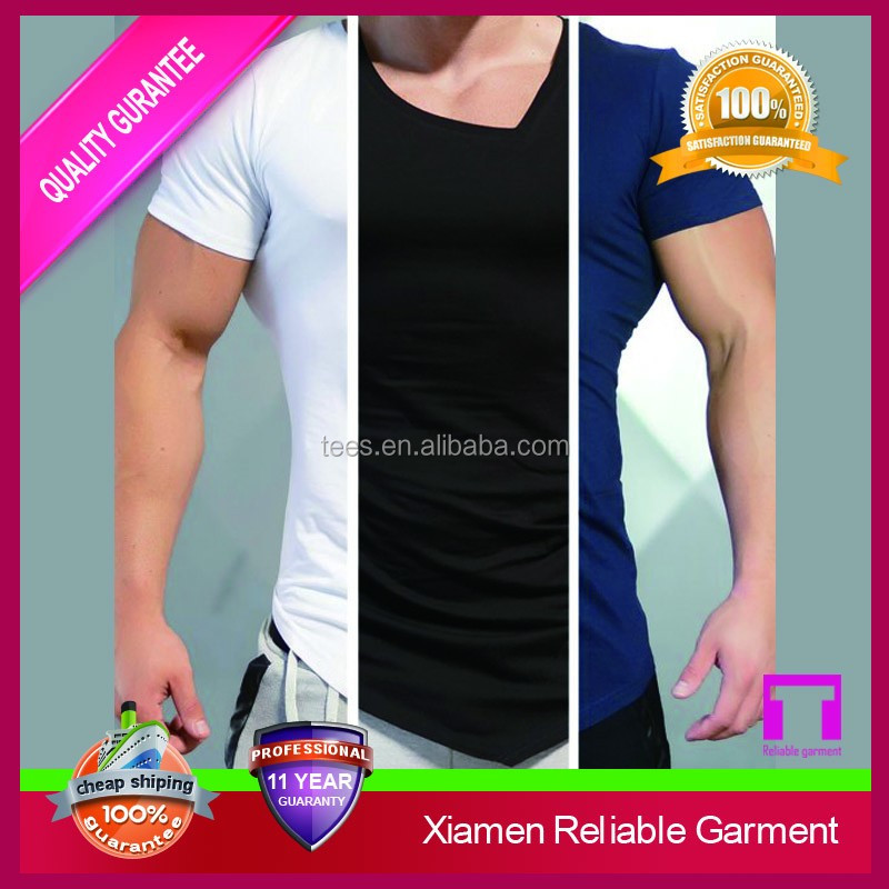Custom asymmetric cuff t shirt with v neck fitness clothing for men