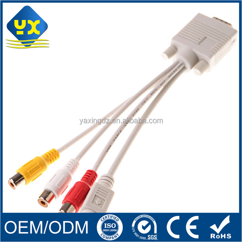 S-video VGA HDB 15P Male to 3 RCA Female mini din cable