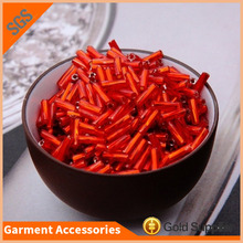 High quality red glass pipe screw glass bugle beads for wedding dress