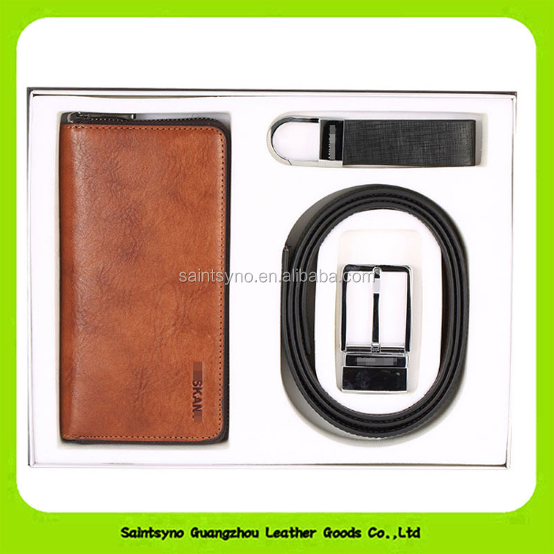 16017 Promotional leather gift set for business man with key holder,leather belt and leather wallet