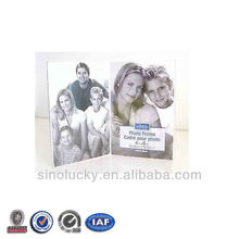 BENT ACRYLIC PICTURE FRAME 4X6 DOUBLE DUAL TABLE VERTICAL 2 PHOTO CLEAR PLASTIC