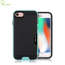 2 IN 1 Card Holder Hybrid Hard PC Carbon Fiber Texture Phone Case For Apple iPhone 7 8