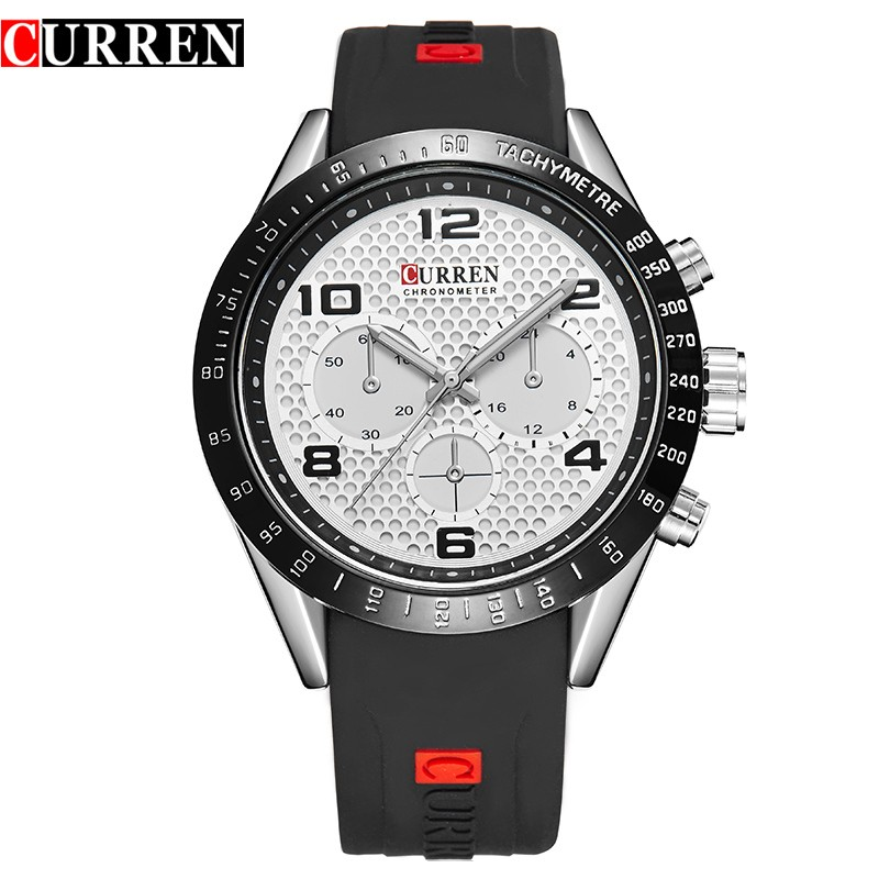 curren 8167 top quality silicone strap luxury men wristwatch military big dial famous brand japan movt quartz <strong>watch</strong> cheap price