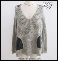 Fashion loose women crochet sweater pullover,wool crochet pullover with pockets