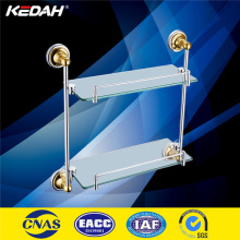 KD9114 wall mounted double tier golden PVD glass bathroom corner shelf