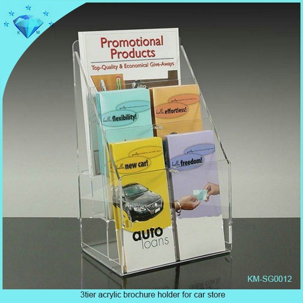 3tier acrylic brochure holder for car store