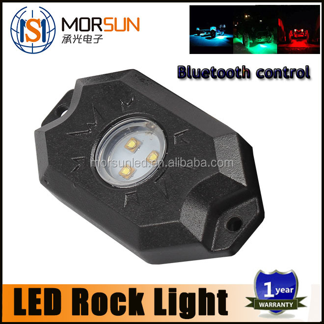 Morsun RGB mini LED rock light, 9w 12v led rock light, offroad RGB bluetooth control led rock light