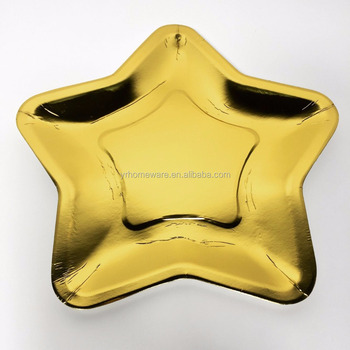 Disposable Gold Foil Star Paper Party Plate Tray For Christmas Gold Foil Star Paper Plate