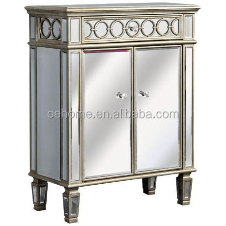Silver 2-door mirror accent chest for any room in the home