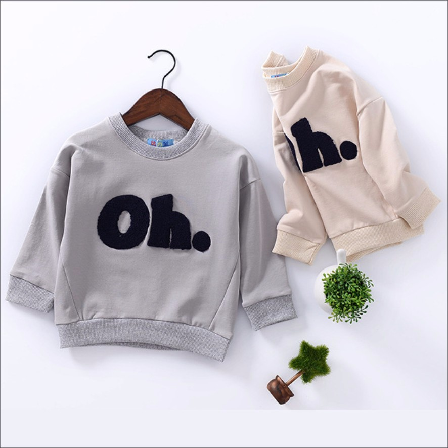 Bulk Custom Cotton Patch Top Pullover Kids Sweatshirt for Baby