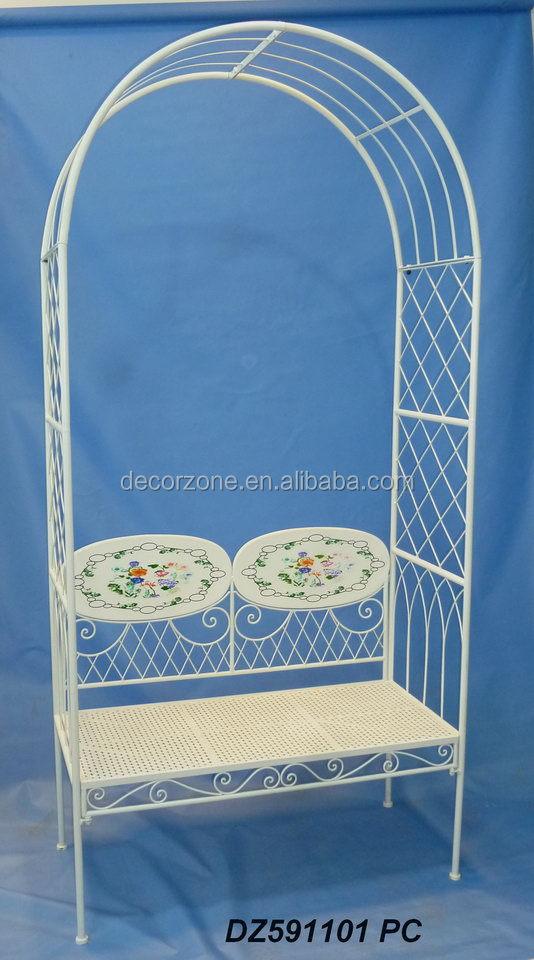 Decoratieve metalen tuin prieel met bank bogen pergola 39 s pergola 39 s en brug product id - Bank voor pergola ...