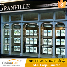 LED Crystal Acrylic Real Estate Sign Poster Frame Real Estate LED Illuminated Window Sign for Property