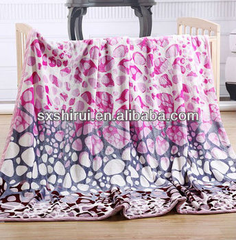 New 100% polyester four seasons flower soft flannel fleece blanket