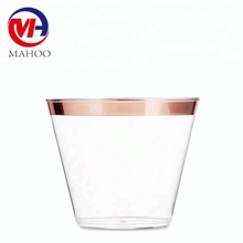 Party Plastic Cups ,Rose Gold Rimmed Disposable Cup for Wedding , Rose Gold Plastic Cups