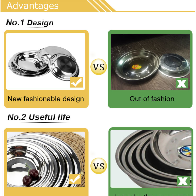 New Design Round shape Stainless Steel snack tray