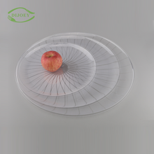 Smart design round ps vegetable hard flat disposable clear plastic tray for food