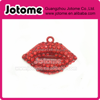 Sexy Red Lips rhinestone pendants for Valentine's Day