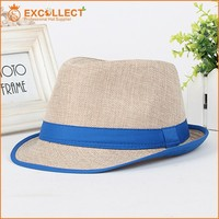 With Color Ribbon Straw Fedora Hat Wholesale