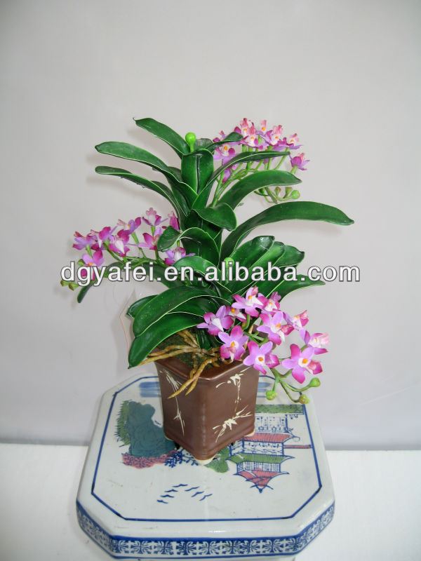 artificial Orchids bonsai in thirteen inches purple sands square pot