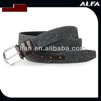 Black Canvas Belt With Genuine Leather