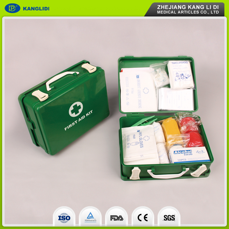 KLIDI China Suppliers Make Green Color Plastic Case Packing Medical First Aid Kit CE And FDA Approved
