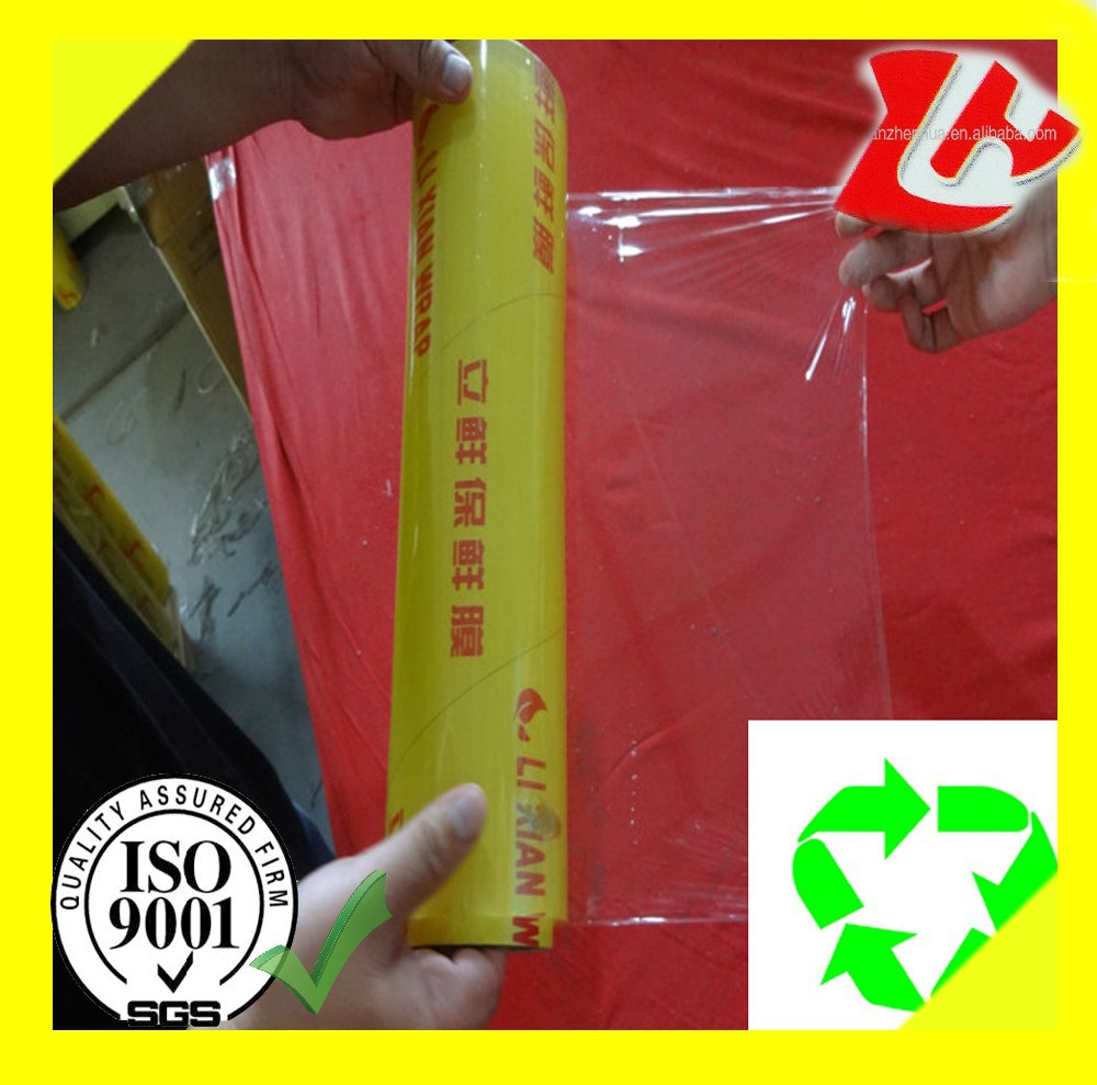 Transparent clear plastic pvc cling film food wrap with cutter box