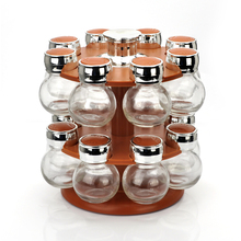 16pcs glass spices canister set with rack