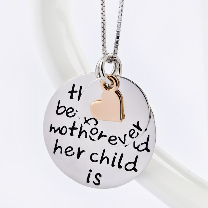 Two -tone Sterling Silver Mother/Child Engraved Disk Pendant Necklace
