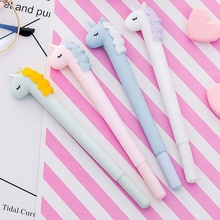 2019 High quality fastness classic candy color unicorn black gel pen cartoon