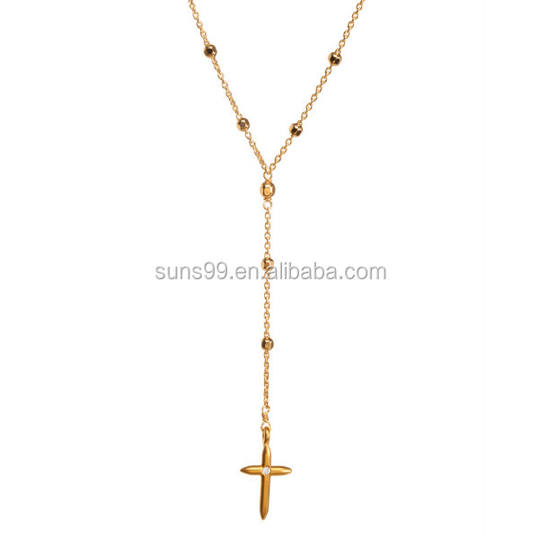 High Polished Stainless Steel Love+faith, Cross Rosary Necklace