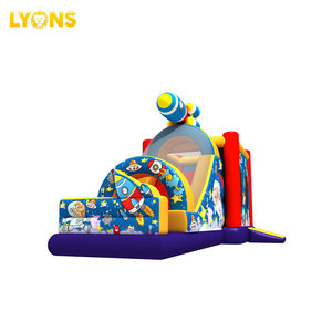 Kids Space Astronauts Theme Inflatable Jumping Trampoline With Inflatable Slide For Kids