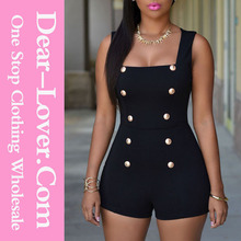 Hot Online Shopping Black Gold Buttons Adult Romper Suits Wholesale