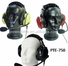 Heavy-Duty Headset behind-the-head dual muff ( hardhat compatible) with noise cancelling boom microphone, inline push-to-talk.