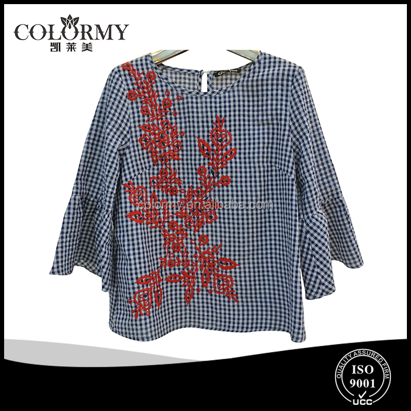 ladies loose blouse with fashion emboridery cotton checked tops manufacture in china