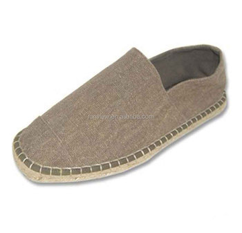 Men Canvas Slip-On Espadrille Casual Shoes With Jute Sole