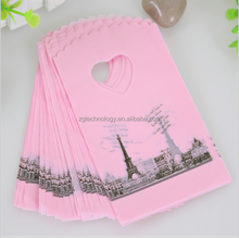2015 Hot Sale Wholesale 50pcs/lot Pink Eiffel Tower Small Birthday Plastic Packaging Gift Bags With Handle