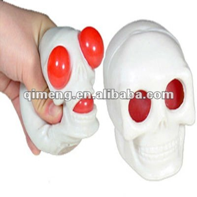 soft TPR material scary skull stress ball halloween toy