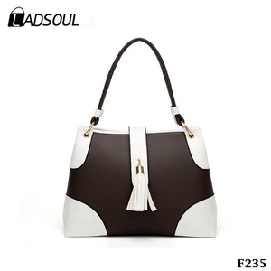 1267f7103b46 Beautiful Fashion Bags Two-color Stitching Tassel Ladies Handbags