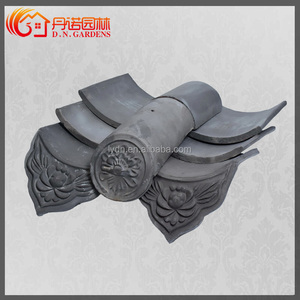 Asian wooden gazebo matt roof tiles grey for house
