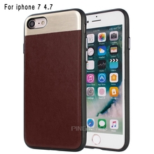 Stitching color design metal + pc + pu leather mobile back cover for iphone 7 hard case