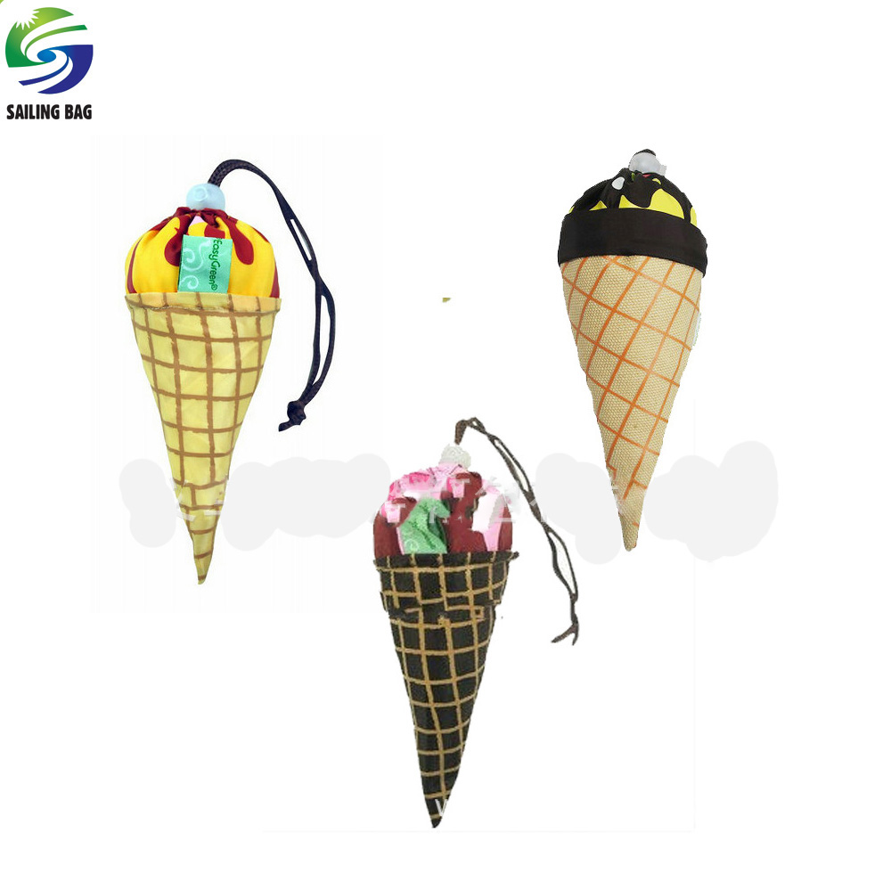 Creative ice cream shape foldable polyester grocery shopping carry bag for promotion
