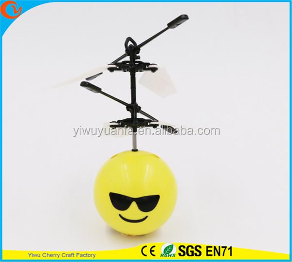 Charming Fashion Interesting Mini Flying Ball Toy Cool Emoji Face Heli Ball for Kids