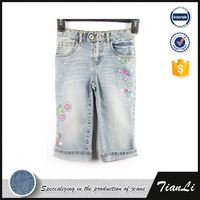 Fashion embroidered design girls jean shorts